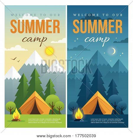Day and night landscape illustrations with mountains trees tent and campfire in flat style. Vertical web banner for summer camp nature tourism camping hiking trekking etc.