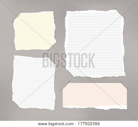 Pieces of torn white, pastel blank and ruled note copybook, notebook sheets inserted into cut paper.