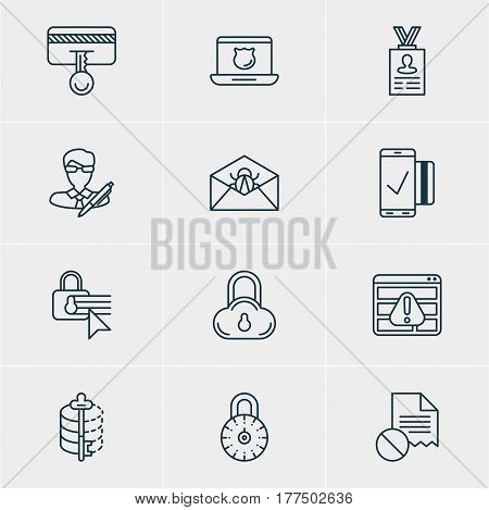 Vector Illustration Of 12 Web Safety Icons. Editable Pack Of Confidentiality Options, Encoder, Account Data And Other Elements.