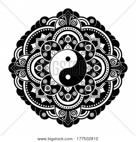 Black and white vector henna tatoo mandala. Yin and yang decorative symbol