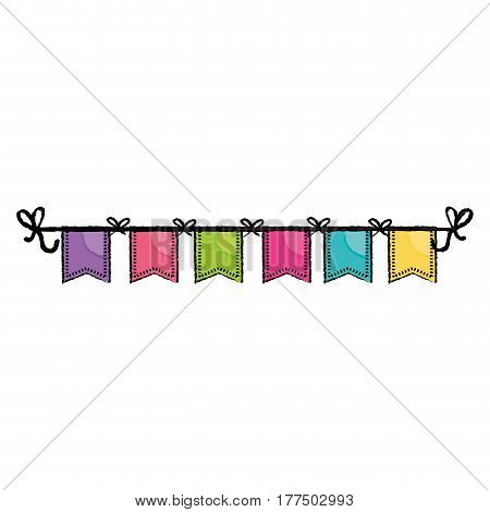 decorative pennants icon over white background. colorful design. vector illustration