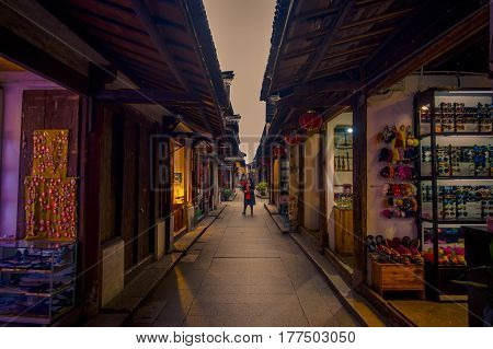 SHANGHAI, CHINA - 29 JANUARY, 2017: Famous Zhouzhuang water town, ancient city district with channels and old buildings, charming popular tourist area.