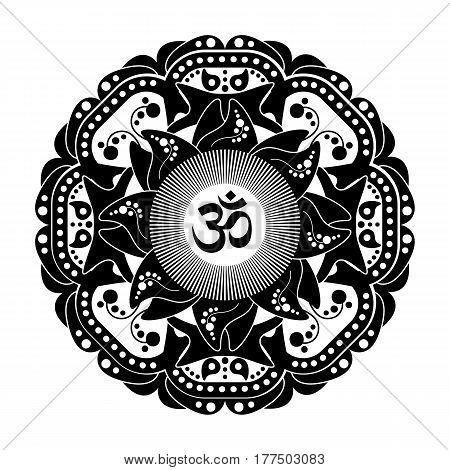 Black and white vector henna tatoo mandala. OM decorative symbol. Mehndi style