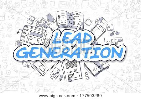Business Illustration of Lead Generation. Doodle Blue Text Hand Drawn Doodle Design Elements. Lead Generation Concept.