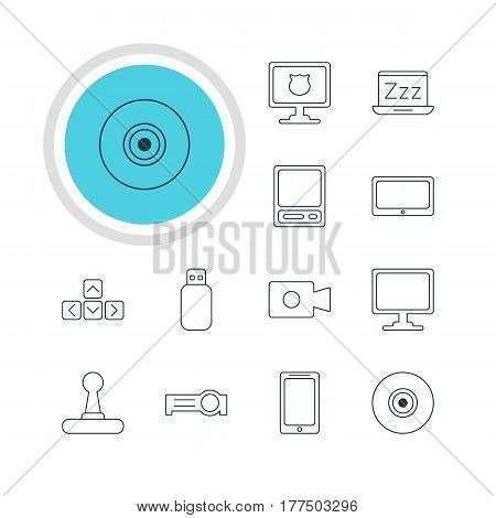 Vector Illustration Of 12 Laptop Icons. Editable Pack Of Game Controller, Antivirus, Tablet And Other Elements.