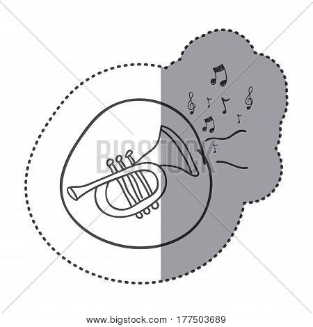 figure trumpet instrument with notes music icon, vector illustration design