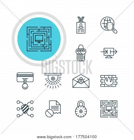 Vector Illustration Of 12 Data Protection Icons. Editable Pack Of Key Collection, Safety Key, Corrupted Mail And Other Elements.