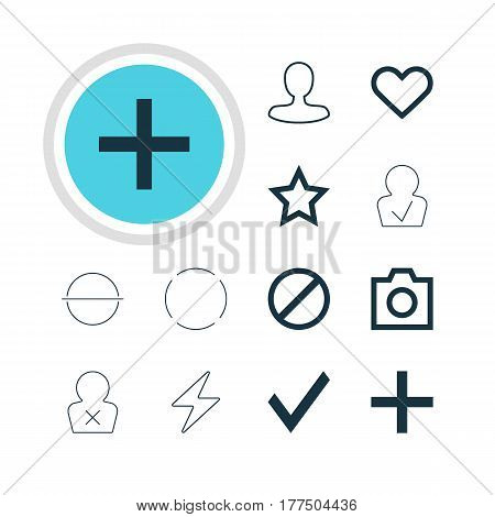 Vector Illustration Of 12 Interface Icons. Editable Pack Of Man Member, Bolt, Asterisk And Other Elements.