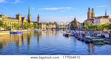 Panoramic View Of The Old Town Of Zurich, Switzerland