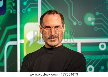ISTANBUL, TURKEY - MARCH 16, 2017: Steve Jobs wax figure at Madame Tussauds wax museum in Istanbul. Steve Jobs was  the co-founder, chairman, and chief executive officer of Apple Inc.