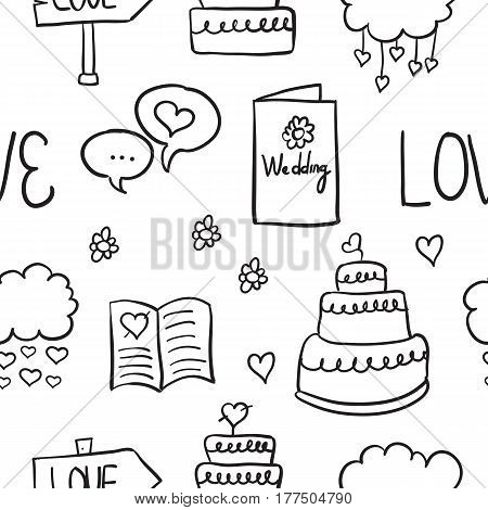 Doodle of wedding various element vector collection stock