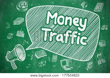 Money Traffic on Speech Bubble. Cartoon Illustration of Yelling Megaphone. Advertising Concept. Yelling Megaphone with Phrase Money Traffic on Speech Bubble. Doodle Illustration. Business Concept.