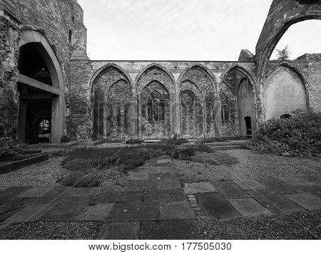 St Peter Ruined Church In Bristol In Black And White