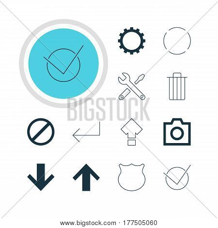 Vector Illustration Of 12 User Icons. Editable Pack Of Accsess, Maintenance, Cogwheel And Other Elements.