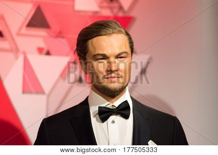 ISTANBUL, TURKEY - MARCH 16, 2017:  Leonardo Dicaprio wax figure at Madame Tussauds wax museum in Istanbul. Leonardo Dicaprio  is an American actor and film producer.