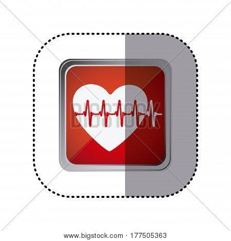 red emblem heartbeat icon, vector illustration design