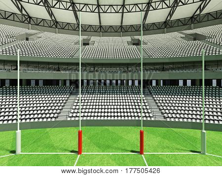 3D Render Of A Round Australian Rules Football Stadium With  White Seats And Vip Boxes