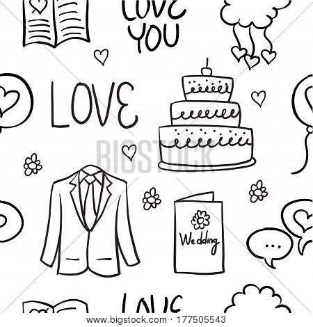 Doodle of wedding style illustration collection stock