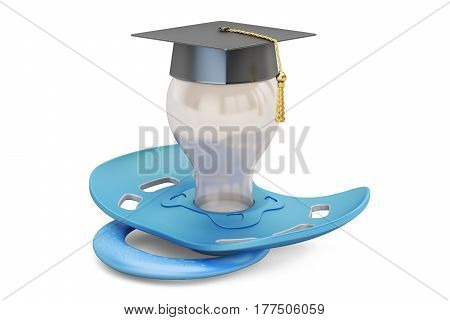 Baby education concept pacifier with graduation cap. 3D rendering