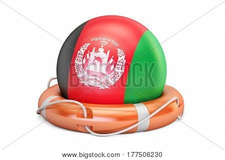 Lifebelt with Afghanistan flag safe help and protect concept. 3D rendering