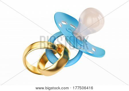 Wedding gold ring and pacifier parenthood and family concept. 3D rendering