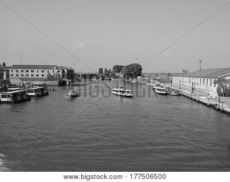 View Of Venice In Black And White