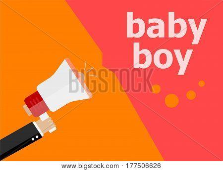 Flat Design Business Concept. Baby Boy Digital Marketing Business Man Holding Megaphone For Website