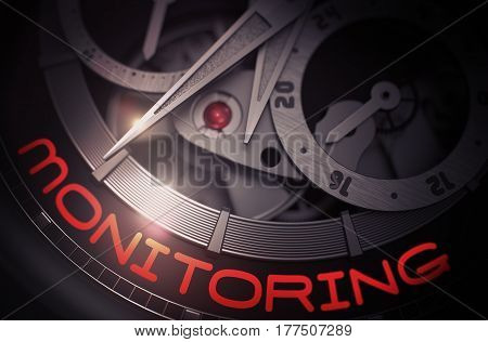 Monitoring on Automatic Pocket Watch Detail, Chronograph Close-Up. Monitoring - Men Wrist Watch with Visible Mechanism and Inscription on Face. Time Concept with Lens Flare. 3D Rendering.