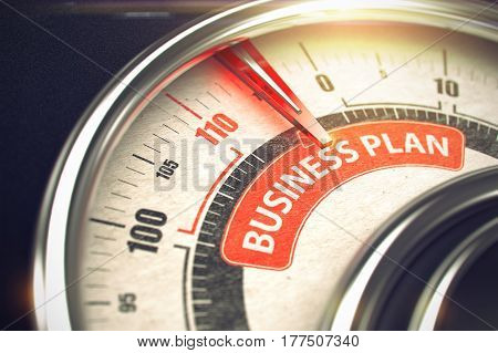 Business Plan Rate Conceptual Compass with Inscription on the Red Label. Business Concept. 3D Render.