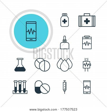 Vector Illustration Of 12 Health Icons. Editable Pack Of Vaccinator, Experiment Flask, Medicine Jar And Other Elements.
