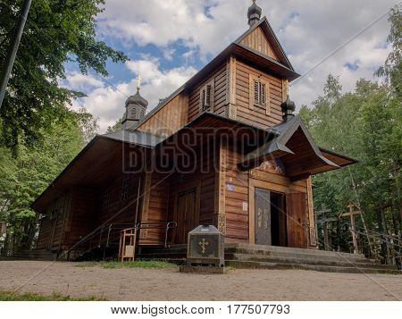 Grabarka Poland - August 14 2016: Wooden Orthodox Church on Holy Mount of Grabarka.