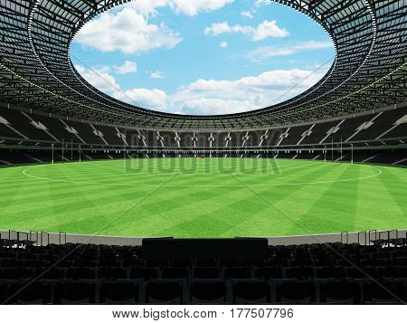 3D Render Of A Round Australian Rules Football Stadium With  Black Seats And Vip Boxes