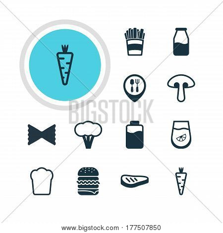 Vector Illustration Of 12 Food Icons. Editable Pack Of Cruet, Juice, Lactose And Other Elements.