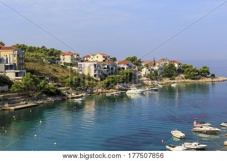 PRIMOSTEN, CROATIA - SEPTEMBER 10, 2016: It is a small coastal village on the Dalmatian coast in the early autumn.