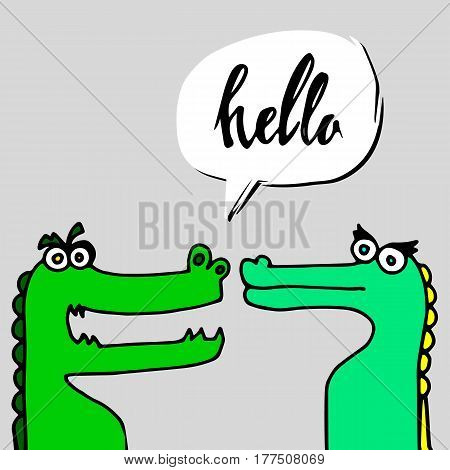crocodile, animal, vector, illustration, alligator, green, cartoon, predator, reptile
