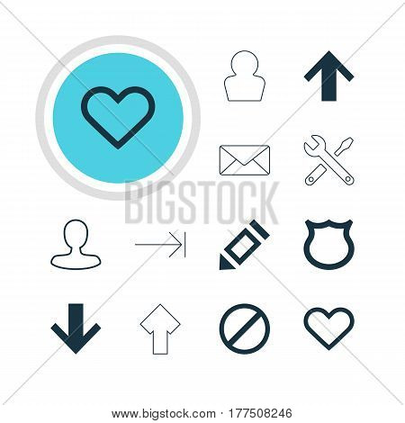 Vector Illustration Of 12 Interface Icons. Editable Pack Of Tabulation Button, Top, Man Member And Other Elements.