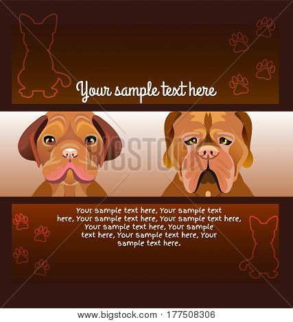 Flyer brochure designs. Set of Two dog looking forward. Dark brown background. Frame design templates. Silhouette of a sitting dog and footprints. Vector.