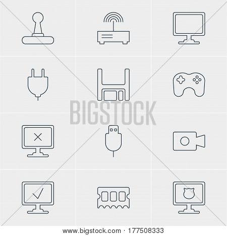 Vector Illustration Of 12 Computer Icons. Editable Pack Of Online Computer, Memory Chip, Game Controller And Other Elements.