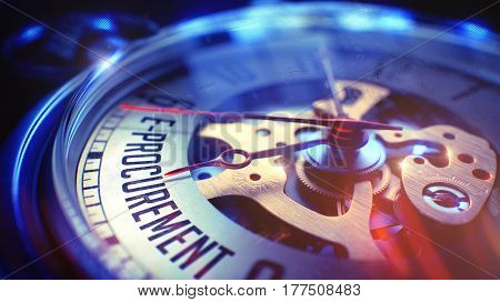 E-Procurement. on Pocket Watch Face with Close View of Watch Mechanism. Time Concept. Vintage Effect. 3D Render.