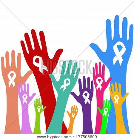 Stop Violence Against Women sign. Hand with white ribbon on white background vector.