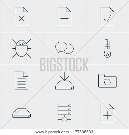Vector Illustration Of 12 Network Icons. Editable Pack Of Hard Drive Disk, Checked Note, Document Adding And Other Elements.