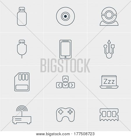 Vector Illustration Of 12 Laptop Icons. Editable Pack Of Memory Chip, Serial Bus, Laptop And Other Elements.