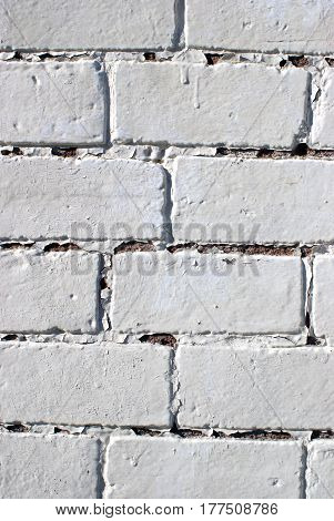 Vertical design element closeup view of a painted brick wall lit by natural sunlight in an exterior environment.