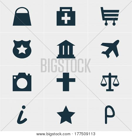 Vector Illustration Of 12 Check-In Icons. Editable Pack Of Cross, University, Drugstore And Other Elements.
