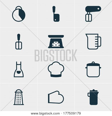 Vector Illustration Of 12 Kitchenware Icons. Editable Pack Of Jug, Whisk, Oven Mitts And Other Elements.