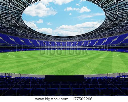 3D Render Of A Round Australian Rules Football Stadium With  Blue Seats And Vip Boxes