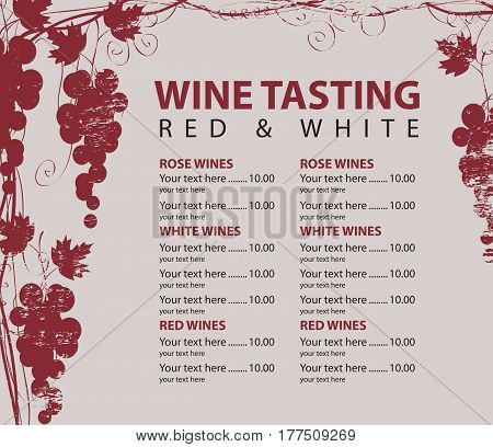vector menu for wine tasting with price and bunch of red grapes