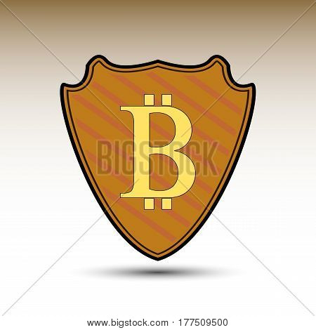 The vector shield with bitcoin symbol for you businnes design