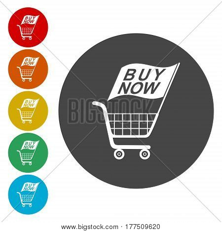 Buy now icon, Web elements for ecommerce, Shopping cart icon