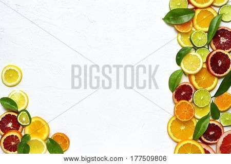 Food Background Withs Slices Of Variety Citrus .top View With Copy Space.